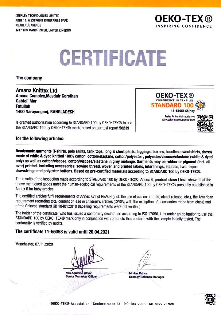 Oeko Tex Certificate | Amana Group