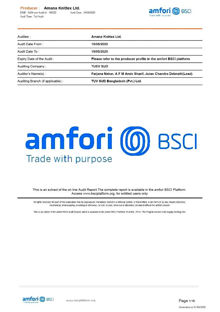 BSCI Certificate | Amana Group